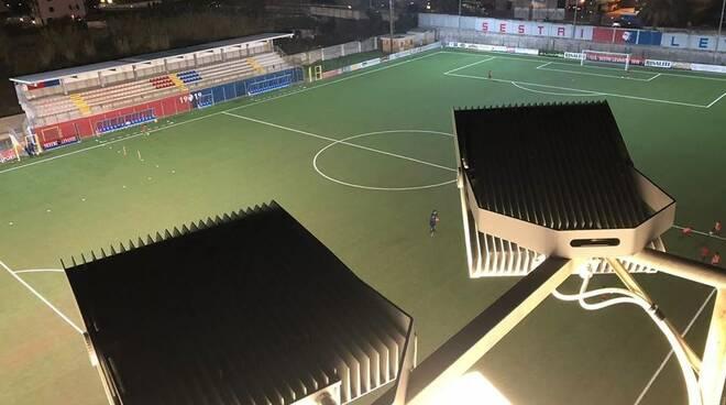 """Lo stadio """"Sivori"""" di Sestri Levante."""