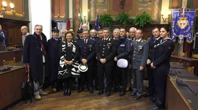 Una delle passate celebrazioni di San Sebastiano da parte della Polizia Locale di Rapallo.