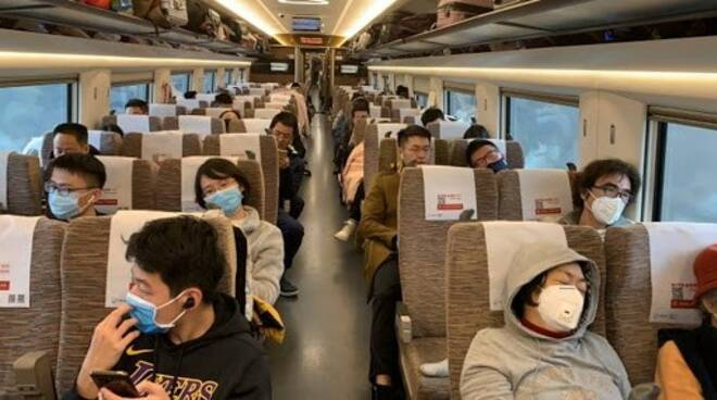 In treno con la mascherina.