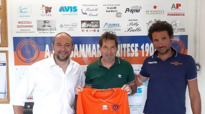 Il presidente Lenzo con mister Barabino e mister Giacobbe.