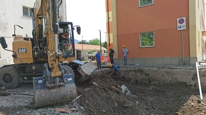 I lavori alla nuova palazzina comunale di via Salvi a Sestri Levante