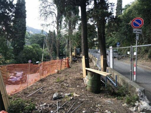 L'inizio dei lavori di realizzazione dell'area fitness a Camogli.