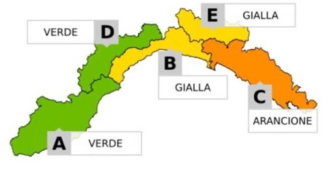 Allerta Meteo, la cartina di Arpal.