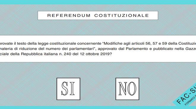 Referendum Costituzionale, il fac simile della scheda di voto.