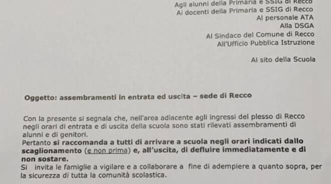 Il documento inviato dal sindaco di Recco Carlo Gandolfo all'Istituto Comprensivo.