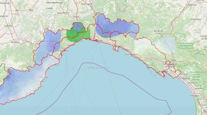 La mappa dell'Allerta Meteo di oggi sulla Liguria.
