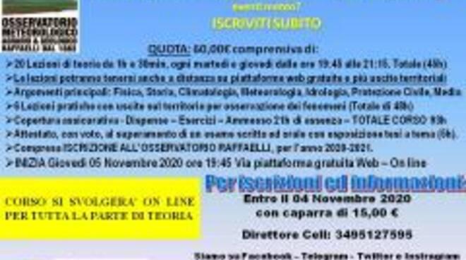 Corso di meteorologia online dell'Istituto Raffaelli di Borzonasca