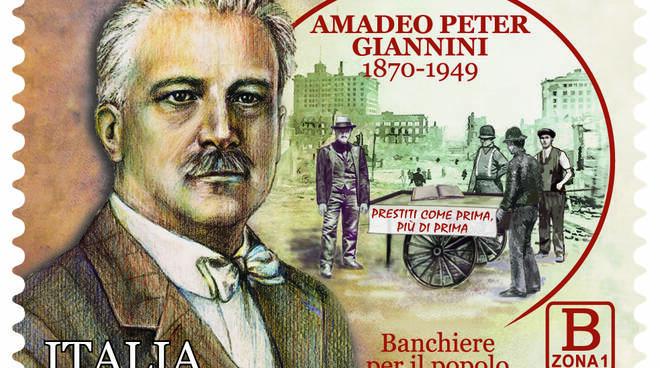 Il francobollo commemorativo di Poste Italiane per Amedeo Peter Giannini.