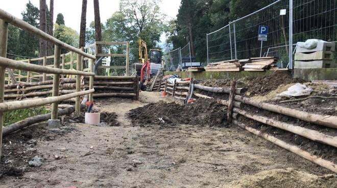 Lavori alla nuova area outdoor in viale dei Cipressi a Camogli.