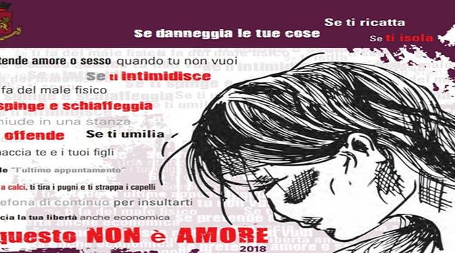"""""""Questo non è amore"""", campagna della Polizia di Stado contro la violenza sulle donne."""