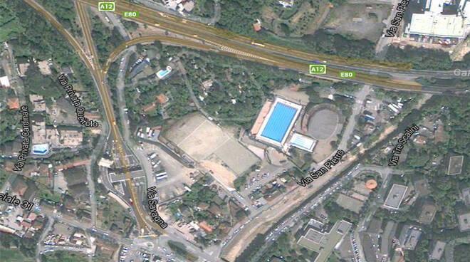 Vista dall'alto di località Poggiolino a Rapallo.