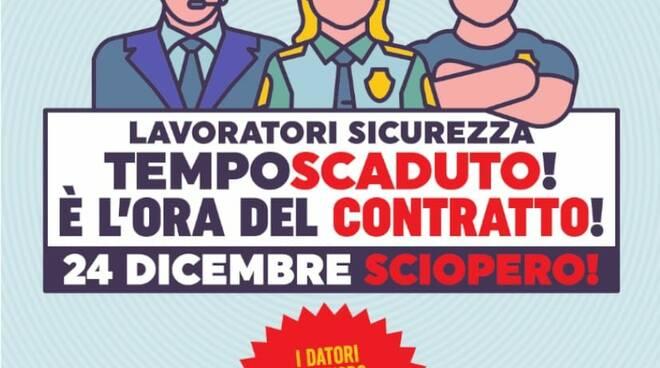 Il volantino con lo sciopero indetto da Cgil, Cisl e Uil per il rinnovo contratto di Vigilanza e sicurezza.