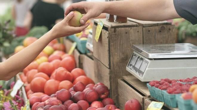 mercato, banchetti, verdura, frutta