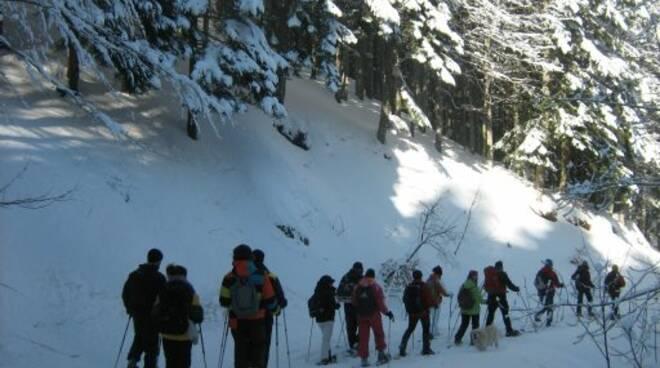Ciaspolata sul Monte Penna nel Parco dell'Aveto.
