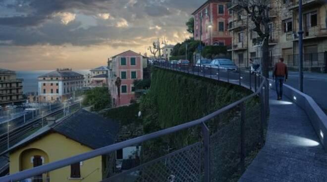 Rendering del progetto della passerella di via Bettolo a Camogli.