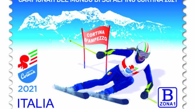 Francobollo dedicato ai mondiali di sci di Cortina.