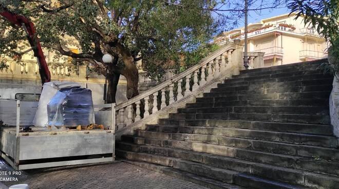Lavori in Piazza Trento e Trieste a Bogliasco.