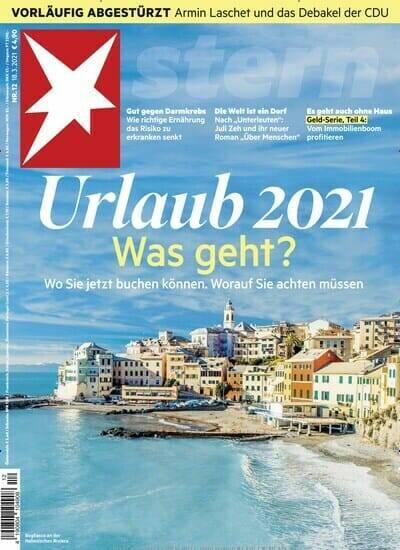 """La copertina de settimanale tedesco """"Stern"""" raffigurante la spiaggia di Bogliasco."""