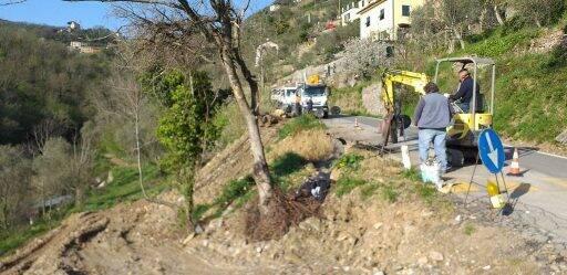 Lavori in via Degregori a Camogli.