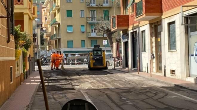 asfalto, via roma, rapallo