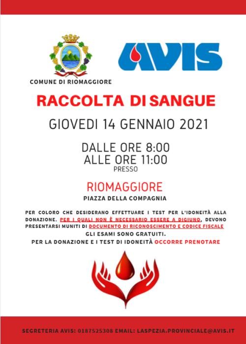 Riomaggiore: Avis, giovedì raccolta di sangue
