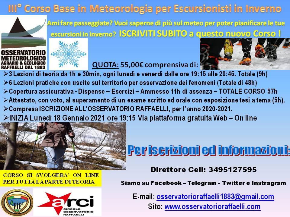 Casarza Ligure: un corso sulla neve apre il semestre dell'Osservatorio