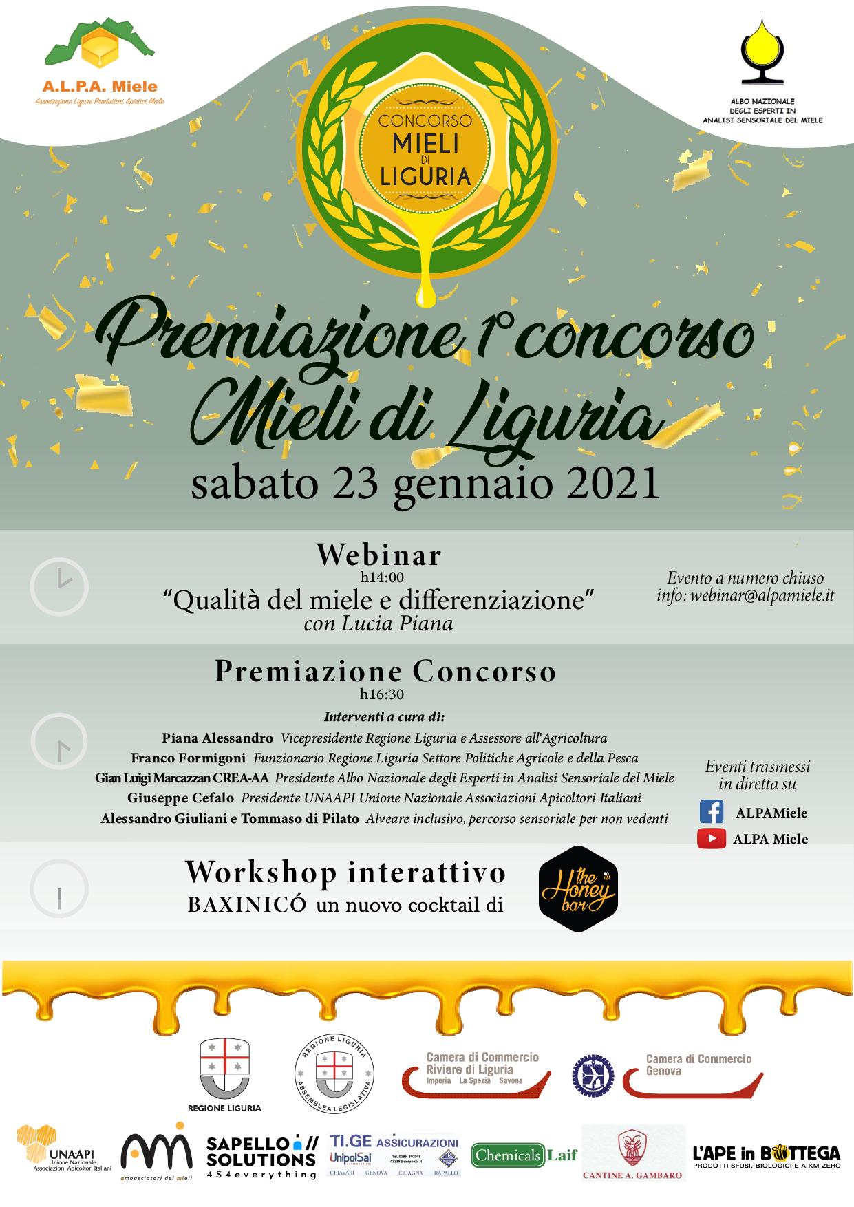Concorso Mieli di Liguria: sabato la premiazione