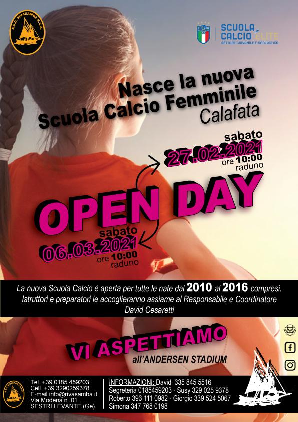 Sestri: Rivasamba, domani l'open day della scuola calcio femminile