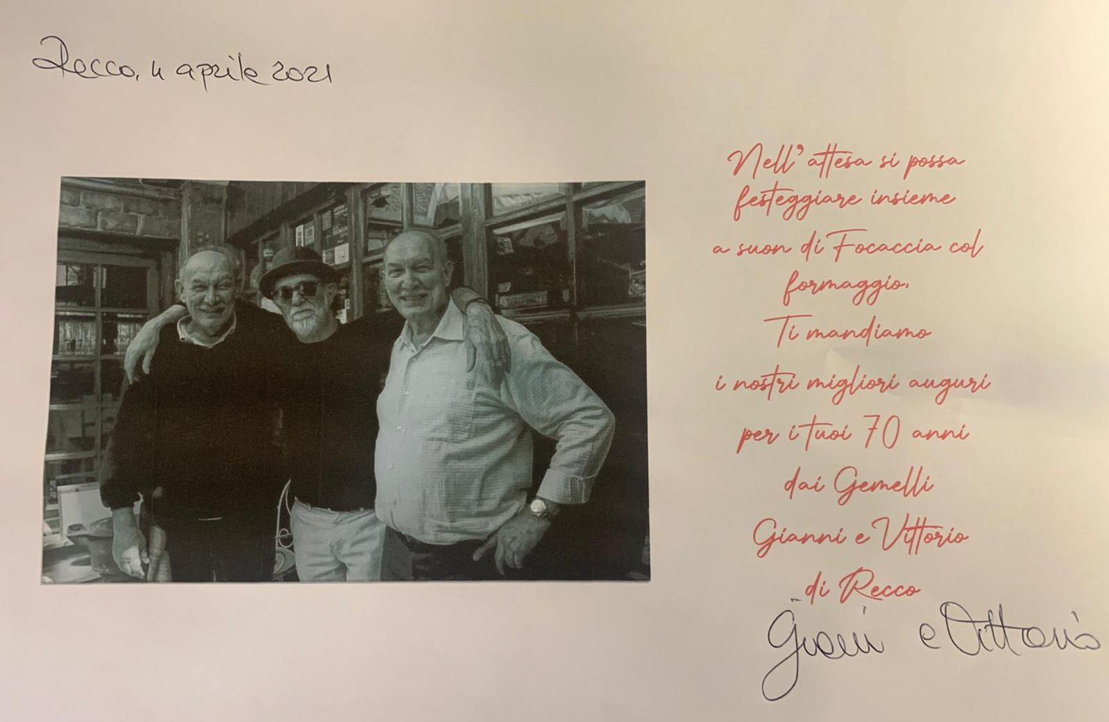 Recco: gli auguri della famiglia Bisso a Francesco De Gregori