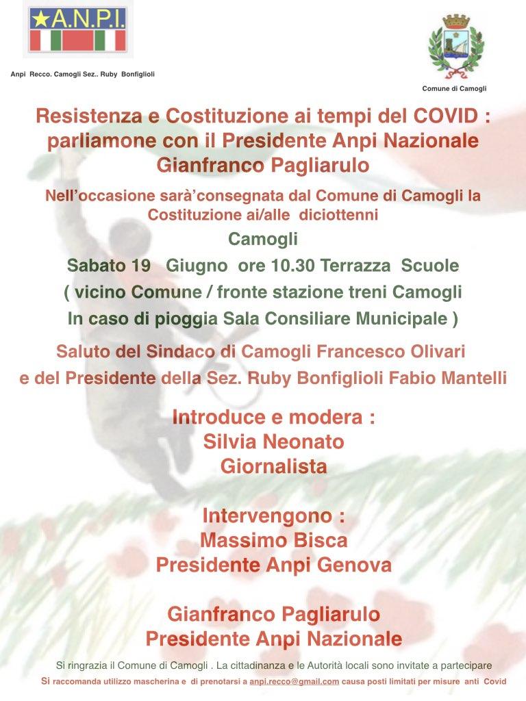 Camogli: Costituzione ai 18enni col presidente nazionale Anpi