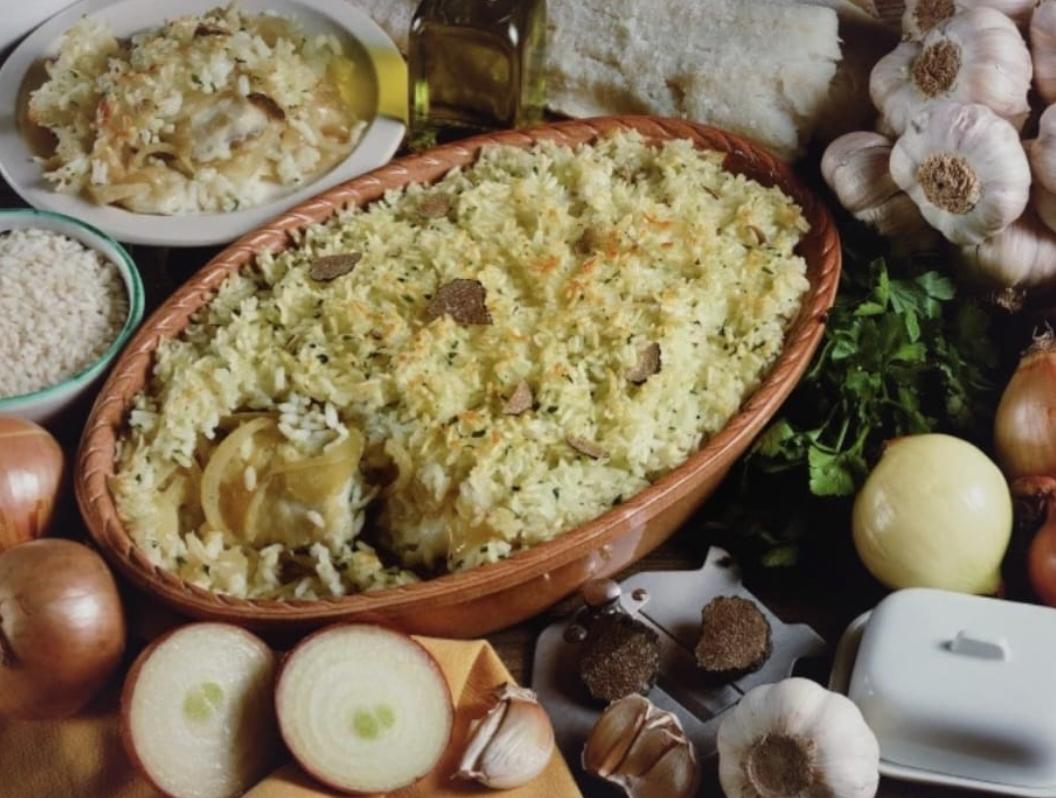Le ricette di Renzo Bagnasco: riso e baccalà gratinati